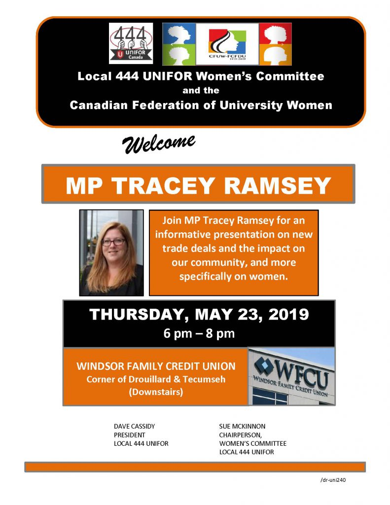 Join MP Tracey Ramsey for an informative presentation on new trade deals and the impact on our community, and more specifically on women.