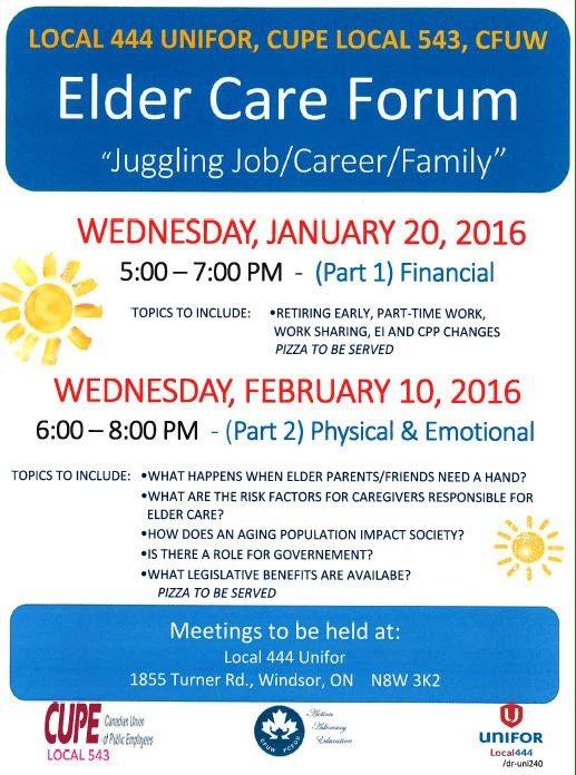 CFUW Elder Care forum