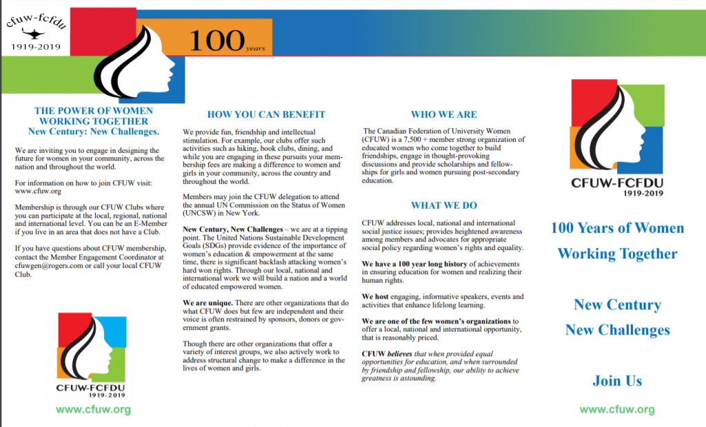 Looking for something new in 2020? Want to get involved in your community but don't know where to start? Consider joining us at Cfuw Windsor as Cfuw enters its next 100 years.